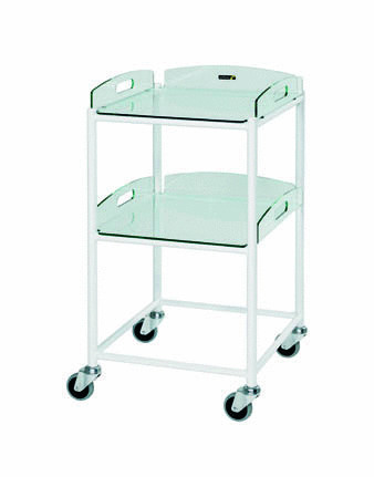 46cm Dressing Trolley with Two Glass Effect Safety Trays