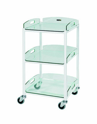 46cm Dressing Trolley with Three Glass Effect Safety Trays