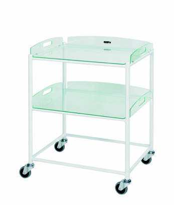 66cm Dressing Trolley with Two Glass Effect Safety Trays