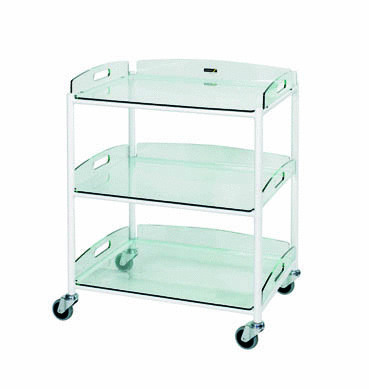 66cm Dressing Trolley with Three Glass Effect Safety Trays