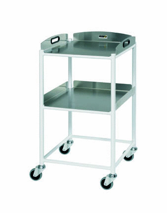 46cm Dressing Trolley with Two Stainless Steel Trays