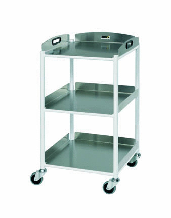 46cm Dressing Trolley with Three Stainless Steel Trays