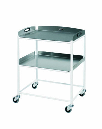 66cm Dressing Trolley with Two Stainless Steel Trays