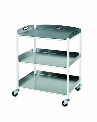 66cm Dressing Trolley with Three Stainless Steel Trays