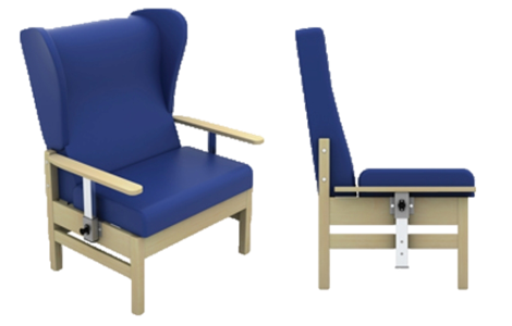 Atlas Bariatric Armchair with Drop Arms and Wings in Anti-Bacterial Vinyl