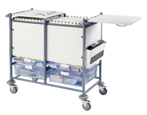 Medical Notes Trolley (Large) - Enclosed Sides with Hinged Tops and 2 Digital Combination Locks