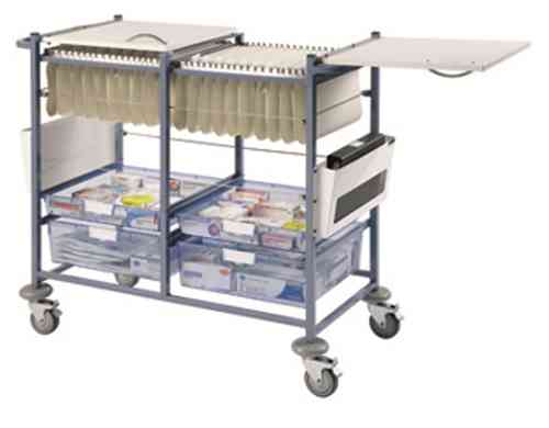 Medical Notes Trolley (Large) - Open sides with hinged tops