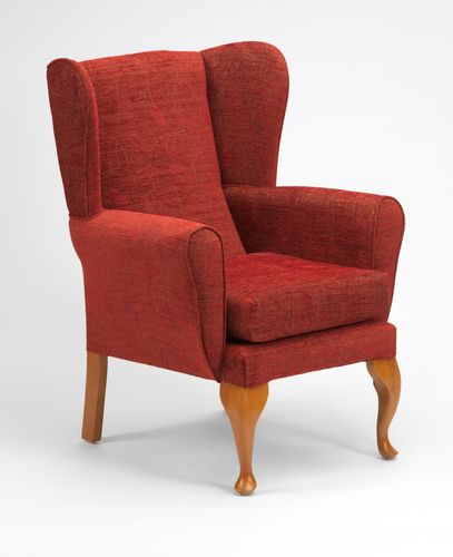 Queen Anne Fireside Chair in Crimson