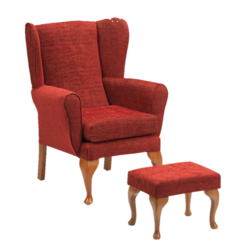 Queen Anne Fireside Chair and Footstool in Crimson