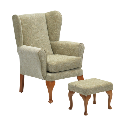 Queen Anne Fireside Chair and Footstool in Sage
