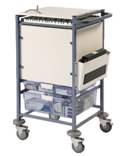 Medical Notes Trolley (Small) - Enclosed Sides with Hinged Top and Digital Combination Lock