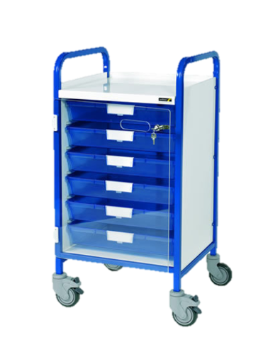 Vista 50 Blue Colour Concept Clinical Trolley-6 Single Blue Trays