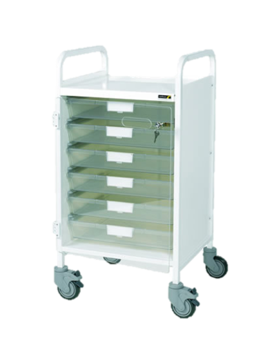 Vista 50 White Colour Concept Clinical Trolley-6 Single Clear Trays