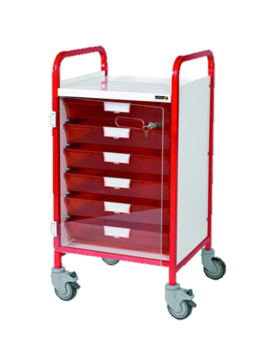 Vista 50  Red Colour Concept Clinical Trolley-6 Single Red Trays