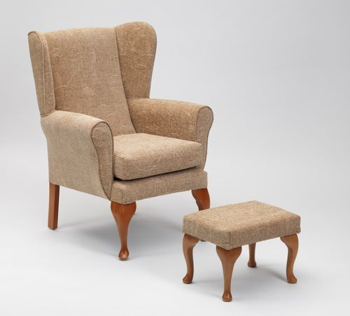 Queen Anne Fireside Chair and Footstool in Biscuit